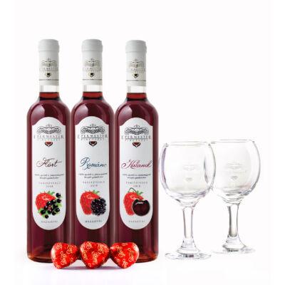 L'amour - Gyümölcsbor csomag ( Kaland + Flört + Románc + 2db pohár + 3db marcipán )