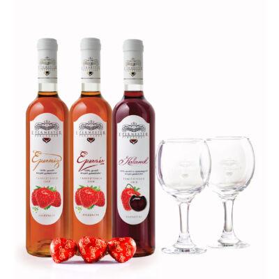 Három királyok - Gyümölcsbor csomag ( Eperméz + Epervér + Kaland + 2db pohár + 3db Marcipán )