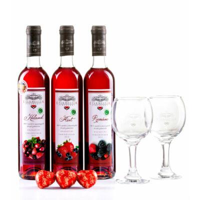 L'amour - Gyümölcsbor csomag(Kaland+Flört+Románc+2db pohár+3db marcipán)
